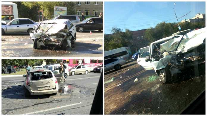 Массовое ДТП во Оренбурге столкнулись три авто