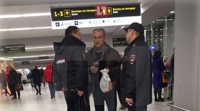 пьяный Александр Балуев в аэропорту Калининграда