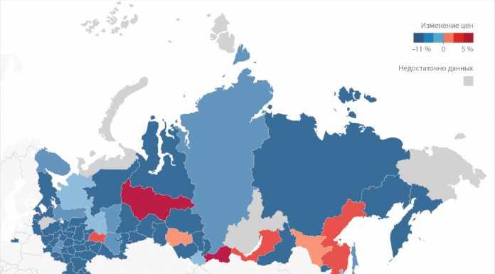 Динамика средних цен на жилье по регионам за 2017 год, руб./кв. м