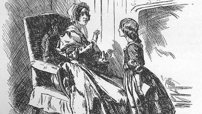 Маленькая Джейн спорит со своей опекуншей миссис Рид. Иллюстрация Ф. Таунсенда