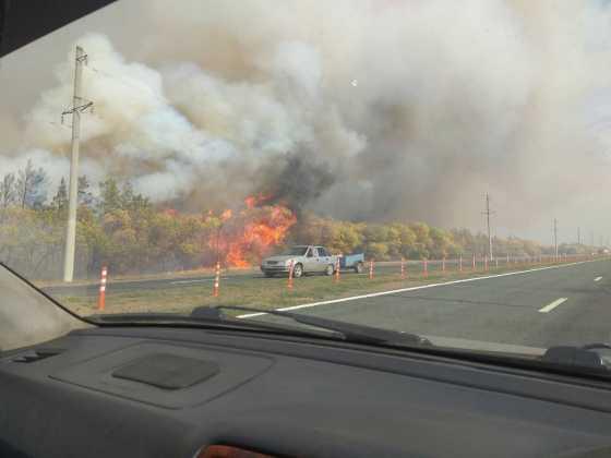 Пожар в поселке 9-ое Января