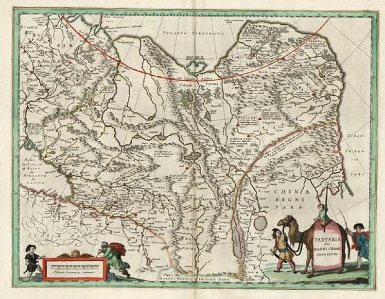 Карта Тартарии голландского картографа Виллема Янсзона Блау, чье произведение Владимир Путин преподнес в дар Минтимеру Шаймиеву на его 80-летье.